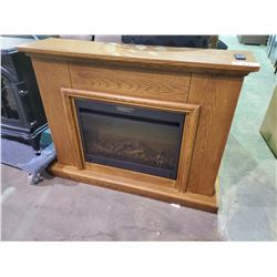 "OAK MANTEL & ELECTRIC FIREPLACE INSERT /W REMOTE (45.5""L X 12""D X 35""H)"