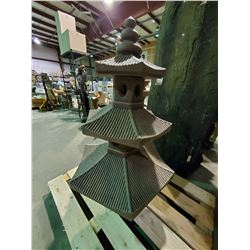 "CONCRETE 3-TIER PAGODA GARDEN ORNAMENT 48""H"
