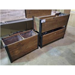3 GRAPEVINE RUSTIC LOOK WOOD/METAL PLANTER BOXES