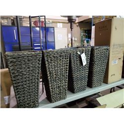 6 GRAPEVINE SQUARE WICKER PLANTERS