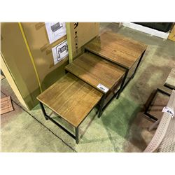 3 PIECE RUSTIC WOOD NESTING TABLES