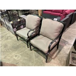2 OUTDOOR PATIO CHAIRS & CUSHIONS