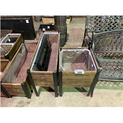 "METAL/WOOD SQUARE PLANTER BOX (17.75"" X 17.75"" X 24"") & METAL/WOOD RECTANGULAR PLANTER BOX"