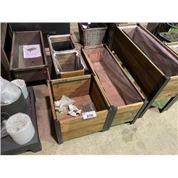 3 PLANTER BOXES (1 SQUARE & 2 RECTANGULAR)