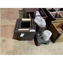 3 SQUARE WICKER PLANTER BOXES & MISC