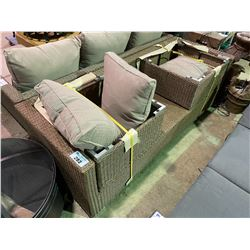 LIGHT BROWN WICKER PATIO SOFA WITH END TABLE & FOOT STOOL