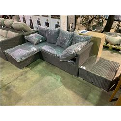 PATIOFLARE LIGHT GREY PATIO SECTIONAL WITH GREY PILLOWS, AND END TABLE