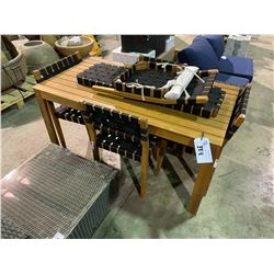 WOOD INDOOR/OUTDOOR TABLE WITH 4 CHAIRS, BENCH, AND SPARE CHAIR
