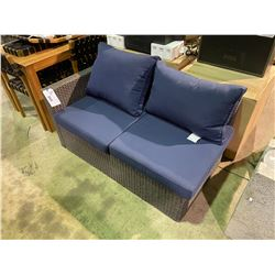 DARK GREY PATIO SECTIONAL END WITH BLUE CUSHIONS