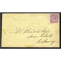 #8 IMPERF ON COVER TIED BY A COBOURG 1859 CANCEL