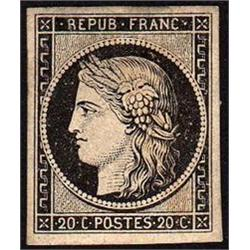 FRANCE #3 XF MINT LH JUMBO MARGIN