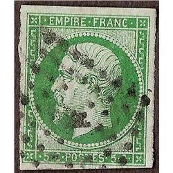France #13b VF USED NO FAULTS YVERT#12b DARK GREEN SHADE BIG MARGIN