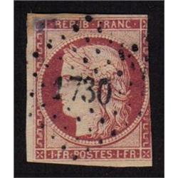 France #9 USED RARE *HAS A REPAIRED CORNER*