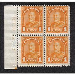 #162 to 167 VF-XF-NH PLATE BLOCK COLLECTION RARE #162 NH, 163NH, 164 2NH-2LH, 165 NH, 165NH, 165 2NH