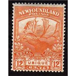 NEWFOUNDLAND #123 VF-LH MINT  CARIBOU CAT$60,00