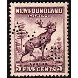 NEWFOUNDLAND #190 XF-NG SELECT PERFIN VARIETY *AYRE*