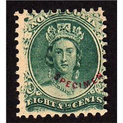 NOVA SCOTIA #11P WITH RED SPECIMEN OVERPRINT  BLUE GREEN SHADE