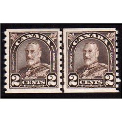 Canada #182i VF-NH LINE COIL PAIR VARIETY C$90,00