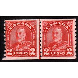 Canada #181i VF-NH LINE COIL PAIR VARIETY C$180,00