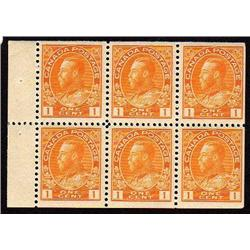 Canada #106b-var XF-NH BK PANE OF 6 WITH DOT IN *O* VARIETY *SCARCE*