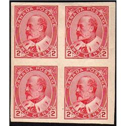 Canada #90a XF-NH(2) LH(2) IMPERF BLOCK OF 4 CAT$180,00