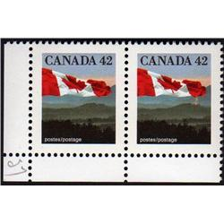 Canada #1356var XF-NH PAIR *TWO RED LIGHT UNDER FLAG VARIETY*