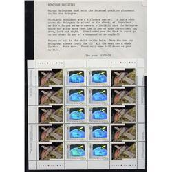 #1441-1442var2 XF-NH COMPLETE SHEET OF 20 *HOLOGRAMS VARIETY SHIFT AT LEFT*