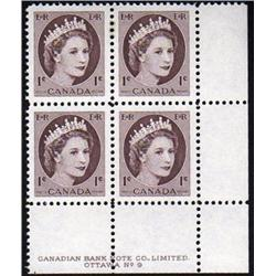 #337ii LOWER RIGHT VF-2NH 2H PLATE BLOCK4 No9 *FLUORESCENT PAPER*