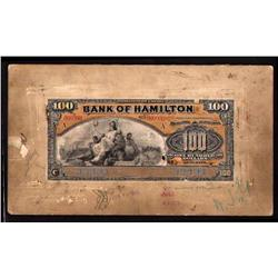 BANK OF HAMILTON RARE $100 PRODUCTION FACE PROOF 1st JUNE 1909