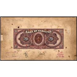 BANK OF HAMILTON RARE $20 PRODUCTION BACK PROOF 1st JUNE 1909