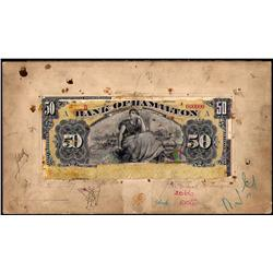 BANK OF HAMILTON RARE $50 PRODUCTION FACE PROOF 1st JUNE 1909