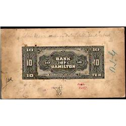 BANK OF HAMILTON RARE $10 PRODUCTION BACK PROOF 1st JUNE 1909