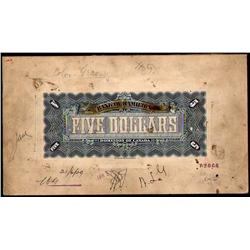 BANK OF HAMILTON RARE $5 PRODUCTION BACK PROOF 1st JUNE 1909