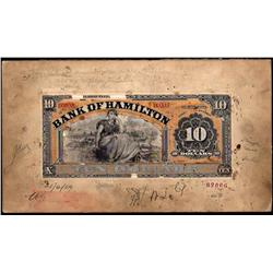 BANK OF HAMILTON RARE $10 PRODUCTION FRONT PROOF 1st JUNE 1909