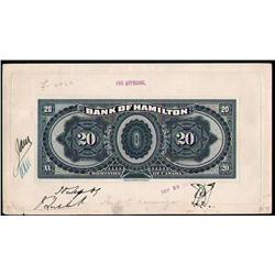 BANK OF HAMILTON RARE $20 BACK PROOF 1st JUNE 1909