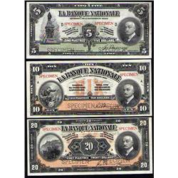 $5, $10, $20, $50 & $100 SPECIMEN SET 1922 (LA BANQUE NATIONALE)