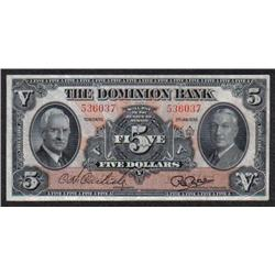 THE DOMINION BANK $5 - JANUARY 3, 1938