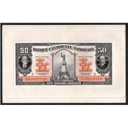 BANQUE CANADIENNE NATIONALE $50 -- FEBRUARY 1st, 1929