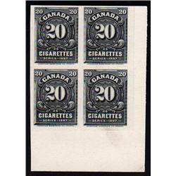 Canada CIGARETTES 20c BLOCK 4 - 1897 SERIES GREEN SHADE