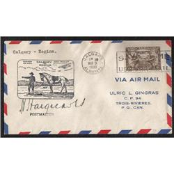 #C1 FIRST FLIGHT COVER *RCMP HORSE DESIGN AND SIGNED BY POSTMASTER*