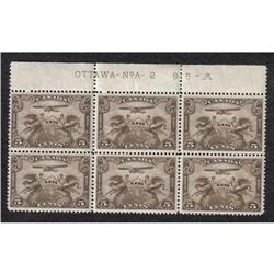 #C1 VF-NH UPPER BLOCK OF 6 No A-2 AIRMAIL CATALOG ONLY FOR STAMPS $240,00