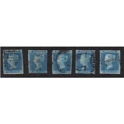 GREAT BRITTAIN #4 (FIVE VARIETY WITH IVORY HEAD VARIETY (SG#14c))