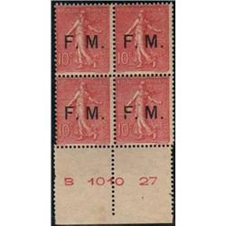 France #M4 F-VF-LH **FRANCHISE MILITAIRE BLOCK OF 4 WITH INSCRIPTION B 1010 27**, gum is disturb, CA