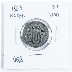 1867 USA Silver 5 Cents No Rays VG8