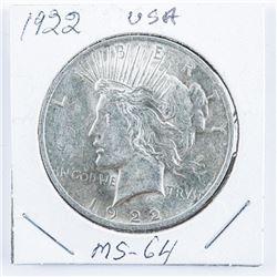 1922 USA Silver Peace Dollar MS64