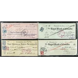 Group of (4) Estate Checks Dated  1920's-1940's with Excise Stamp