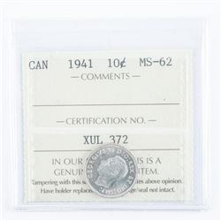 1941 Canada 10 Cents. MS62. ICCS
