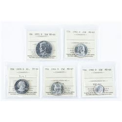 Group of (5) USA Coins - ALL ICCS