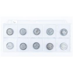 Group of (10) Canada Silver 25 Cent Early  Years