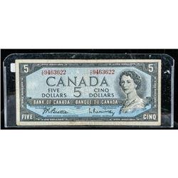 Bank of Canada 1954 5.00 (VG) BC39b